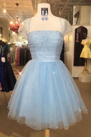 Cute Light Sky Blue Homecoming Dresses with Cap Sleeves cg2122