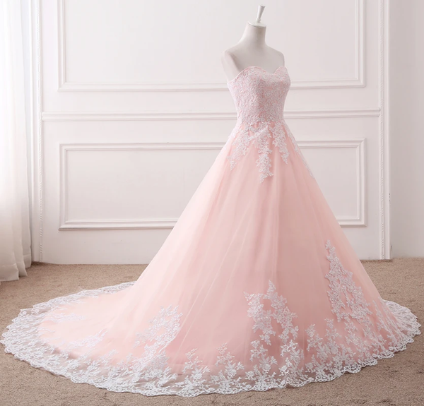 Pink Puffy Ball Gown Princess Sweetheart Tulle Formal Dress With White Lace Prom Dress    cg21328