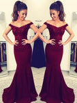 Charming Burgundy Off Shoulder Elastic Satin Long Mermaid Lace Prom Dresses    cg21390