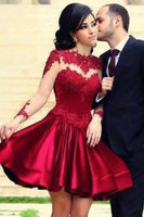 Short Homecoming Dress,Burgundy Dress,Full Sleeve Gown,Wedding Party Dress  cg213