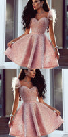 Sweetheart Pink Beaded Short homecoming Dress with Feathers, Cutest Pink Dresses for Homecoming  cg214