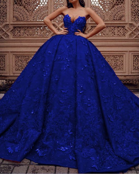 royal blue lace prom dresses ball gown sweetheart corset   cg21486