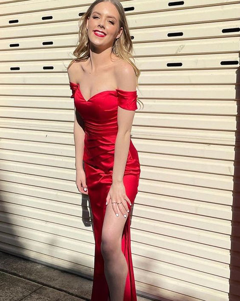 Off the Shoulder Red Satin Simple Prom Dress with Side Slit    cg21549