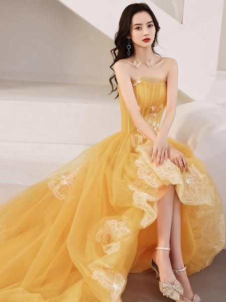 Yellow Unique High Low Tulle with Lace Prom Dress, Yellow Formal Dress Evening Dress   cg21619