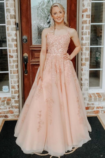 A-line Straps Long Blush Lace Prom Dress with Lace-Up Back    cg21819