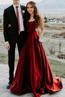 Elegant A-line Burgundy Prom Dress with Pockets cg2183