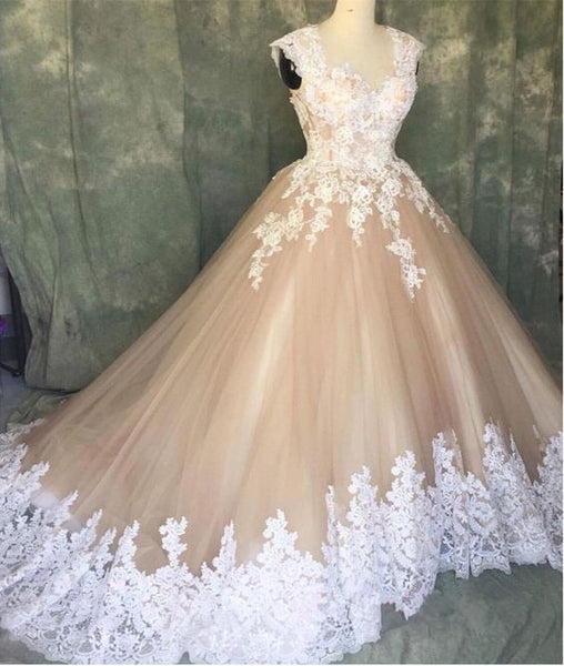 Ball Gown Wedding Dress With Lace prom dress for women    cg21854