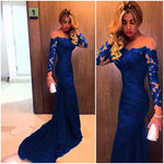 Sheer Neckline Long Sleeves Lace Prom Dresses Mermaid Evening Gowns    cg21895