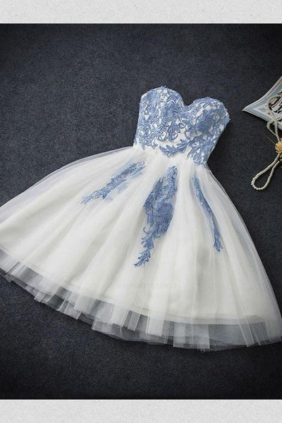 A-Line Sweetheart Sleeveless Short Tulle Homecoming Dress with Appliques  cg218