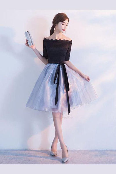 Sexy Off Shoulder Black Tulle Knee Length Homecoming Dresses cg219