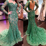 mermaid prom dresses, long sleeve prom dresses, lace prom dresses, beaded prom dresses, long sleeve evening dresses    cg22094