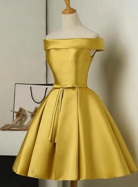Gold Short Party Dress, Simple Off Shoulder Homecoming Dress  cg221