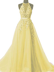 Simple Yellow Lace Prom Dresses with Beading     cg22206