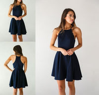 Cheap Comfortable Simple Homecoming Dresses, Homecoming Dresses Short, Navy Blue Homecoming Dresses cg223