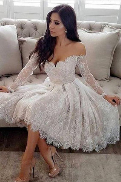 A-Line Off-the-Shoulder Long Sleeves Homecoming  Dress cg226