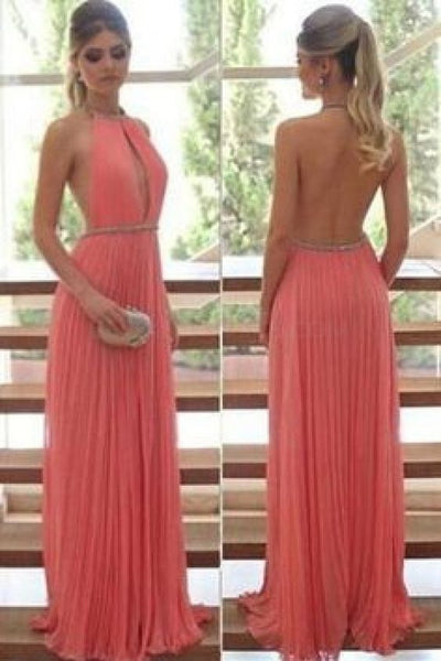 Sexy Halter Backless Chiffon Beaded Prom Formal Evening Party Dress cg2274