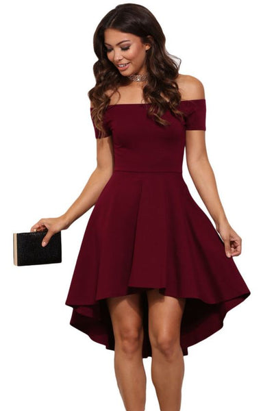 Charming Burgundy Dress,Off The Shoulder Party Dress,High-Low Evening Dress , cheap homecoming dress cg22