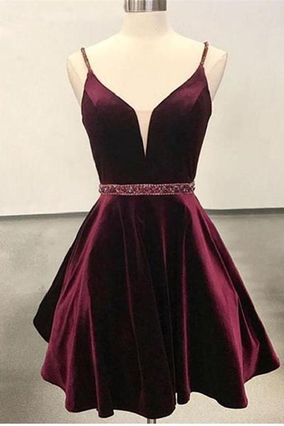 Cute A Line V Neck Open Back Velvet Burgundy Short Homecoming Dress cg231