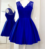 Charming Royal Blue Cute homecoming Dress, Lace Satin Short Homecoming Dress   cg233