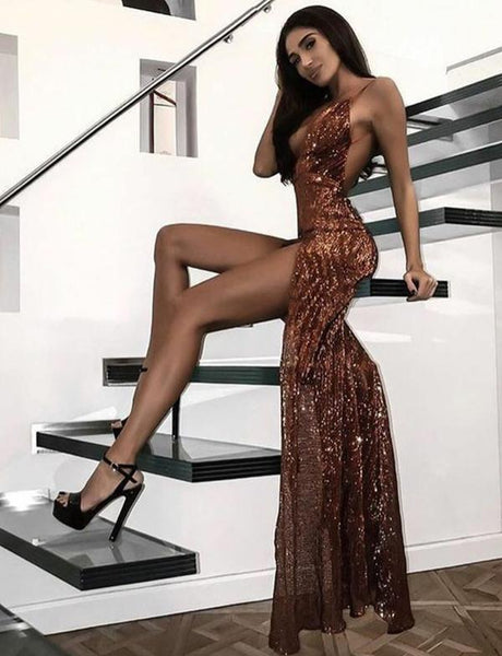 Sexy Long Prom Dresses Spaghetti Straps Evening Dresses cg2335