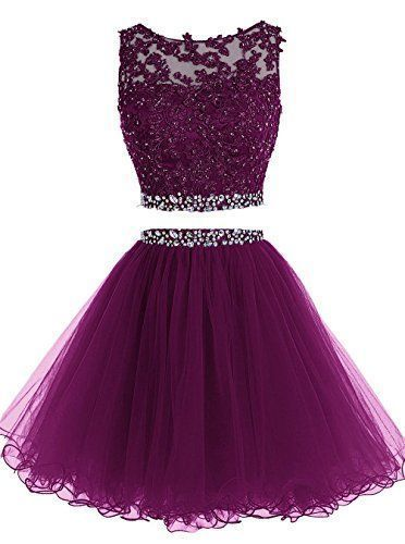 Elegant Two Piece homecoming Dress, Short Tulle Purple Homecoming Dress cg234