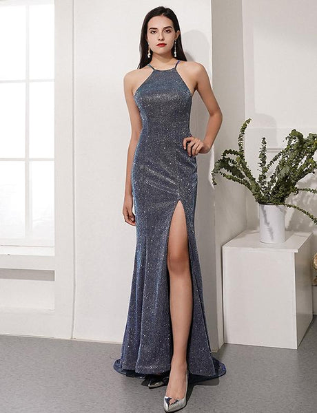 Sexy Mermaid Gray Prom Dresses Halter Evening Dress Split Front cg2352