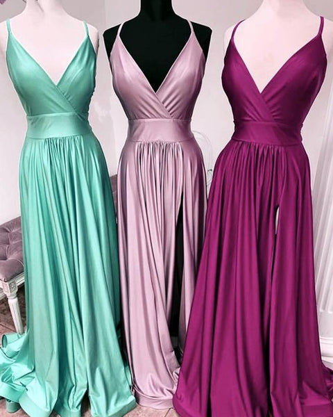 Sexy Leg Slit Long V-neck Prom Dresses cg2360