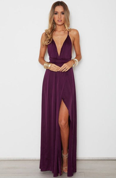 Sexy A-Line V Neck Spaghetti Straps Criss Cross Back Wine Chiffon Long Prom Dresses with Side Split cg2368
