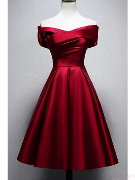 Vintage Burgundy Knee Length Satin Homecoming Dresses cg2384