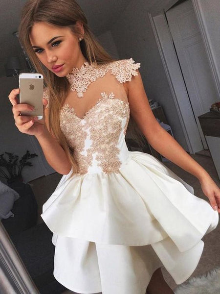 Ivory gold lace applique homecoming dresses cg239