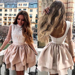 A-Line High Neck Champagne Homecoming Dress with Appliques Sleeves ,cute homecoming dress cg23