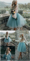 Cheap Tulle and Lace Two Pieces Blue Short dress , homecoming dresses cg24