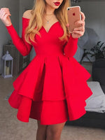 A-Line Crew Neck Long Sleeves Short Red Tiered Homecoming Dress cg240