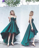 Elegant Strapless High Low homecoming  Dress Green Formal Evening Gown  cg246