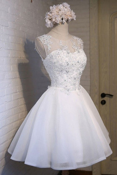 Glamorous A-Line Scoop Neckline Short Homecoming Dresses,White Homecoming Dresses With Sleeveless cg248