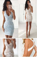 Sheath V-Neck Sleeveless Short Ivory Lace ,  Homecoming Dress cg25