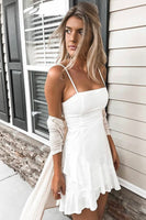 A-Line Spaghetti Straps Short White Homecoming Dress cg250