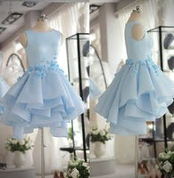 Light Blue Satin Organza Short Party Dress ,cute homecoming dress cg259