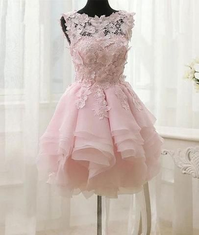 Pink Appliques Organza Tiered Short Homecoming Dress,Simple Homecoming Dresses cg260