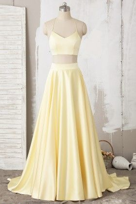 Yellow Two Piece Halter Lace Satin Long Prom Dress cg2606