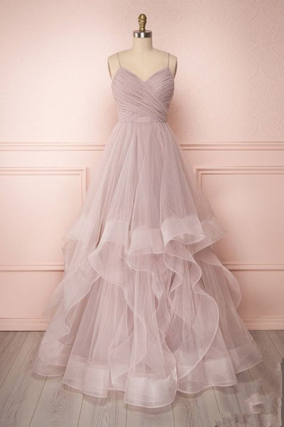 Pink Tulle A Line Prom Dress , Charming Prom Gown  cg2611
