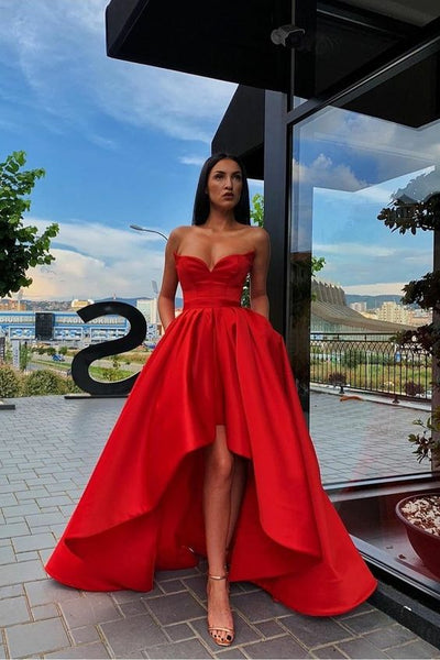 Red Satin Hi-lo Prom Gown Dress with Sweetheart Neckline cg2613