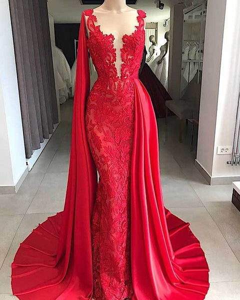 Mermaid Prom Dresses Red Lace Sheer Neck Beads Elegant Evening Dresses cg2616