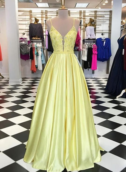 Yellow v neck lace applique long prom dress, yellow evening dress cg2618