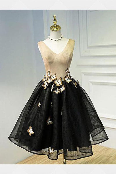 Black Homecoming Dress Outstanding Short homecoming Dresses With A-line/Princess Lace Up Butterfly Dresses cg264