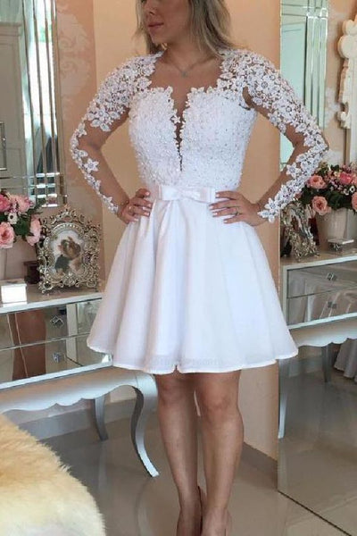 Short white party dresses, mini open back long sleeves homecoming dresses, sexy deep v-neck lace party dresses cg265