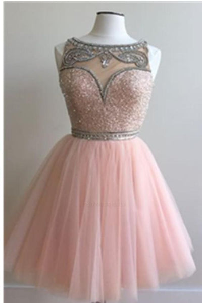 Pink homecoming dress, round neck homecoming dress, beading homecoming dress, short homecoming dress  cg266