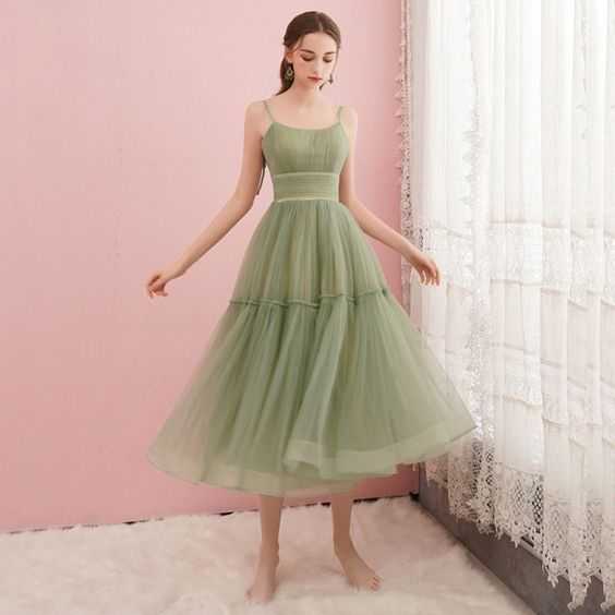 Simple Sage Green Homecoming Graduation Dresses 2019  cg2676