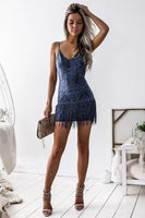 Sheath Spaghetti Straps Short Backless Fringe Navy Blue Lace Homecoming Dress  cg273