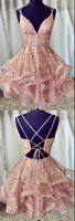 UNIQUE PINK TULLE SHORT DRESS, PINK TULLE HOMECOMING DRESS cg2750